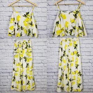 Papillon Lemon crop top and pants set